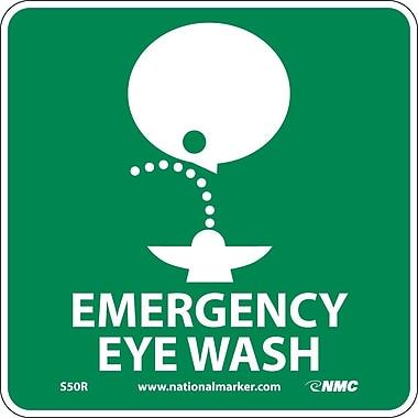 Emergency Eye Wash (W/ Graphic), 7X7, Rigid Plastic