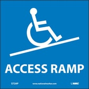 """Access Ramp Graphic, 4"""" x 4"""", Adhesive Vinyl, 5 Labels/Pack"""