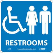 Restrooms (W/ Graphic), 7X7, Rigid Plastic