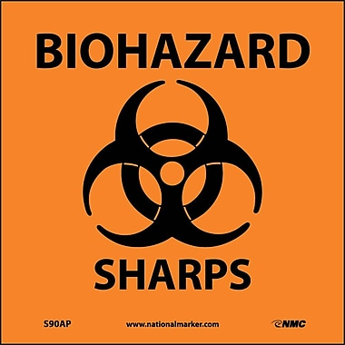 Biohazard Sharps (Graphic), 4X4, Adhesive Vinyl, Labels sold in 5/Pk