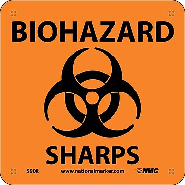 Biohazard Sharps (W/ Graphic), 7X7, Rigid Plastic