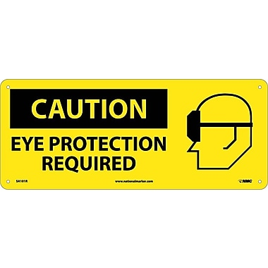 Caution, Eye Protection Required (W/Graphic), 7X17, Rigid Plastic