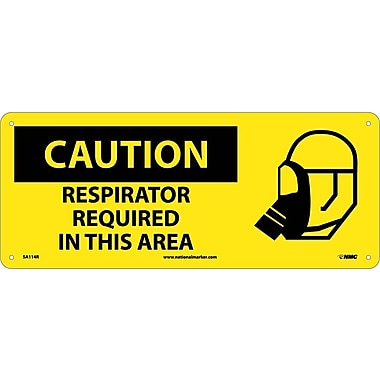 Caution, Respirator Required In This Area (W/Graphic), 7X17, Rigid Plastic
