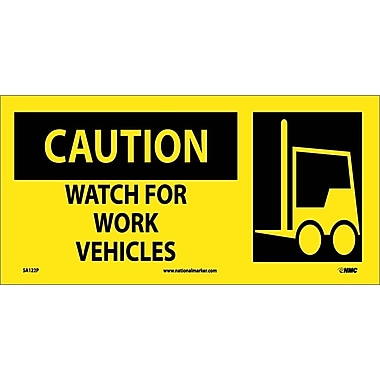 Caution, Watch For Work Vehicles (W/ Graphic), 7X17, Adhesive Vinyl