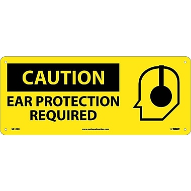 Caution, Ear Protection Required (W/Graphic), 7X17, Rigid Plastic