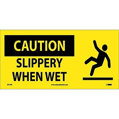 Caution, Slippery When Wet (W/ Graphic), 7X17, Adhesive Vinyl