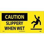 Caution, Slippery When Wet (W/ Graphic), 7X17, Adhesive Vinyl