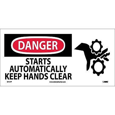 Danger, Starts Automatically Keep Hands Clear (W/ Graphic), 7X17, Adhesive Vinyl