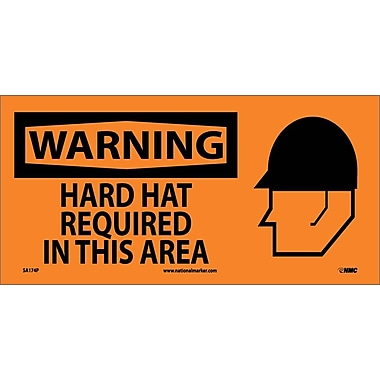 Warning, Hard Hat Required In This Area (W/ Graphic), 7X17, Adhesive Vinyl
