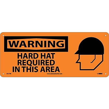 Warning, Hard Hat Required In This Area (W/Graphic), 7X17, Rigid Plastic