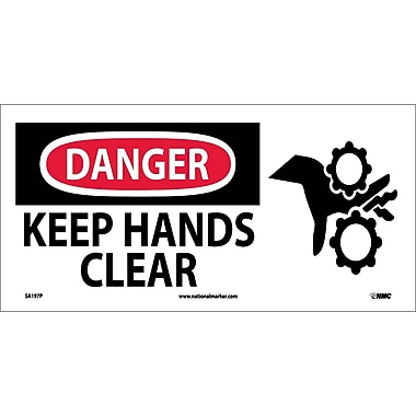 Danger, Keep Hands Clear, (W/Graphic), 7X17, Adhesive Vinyl
