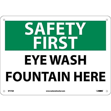 Safety First, Eye Wash Fountain Here, 10X14, .040 Aluminum