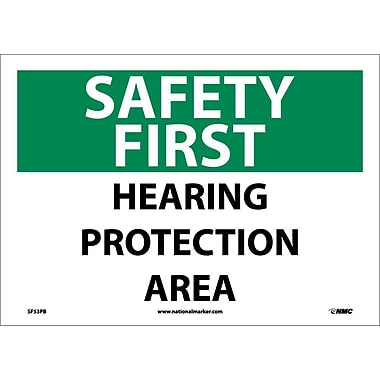 Safety First, Hearing Protection Area, 10X14, Adhesive Vinyl