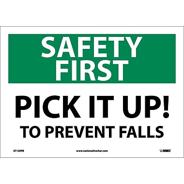 Safety First, Pick It Up! To Prevent Falls, 10X14, Adhesive Vinyl