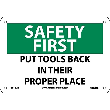 Safety First, Put Tools Back In Their Proper Place, 7X10, Rigid Plastic