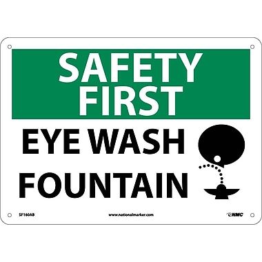 Safety First, Eye Wash Fountain, Graphic, 10X14, .040 Aluminum