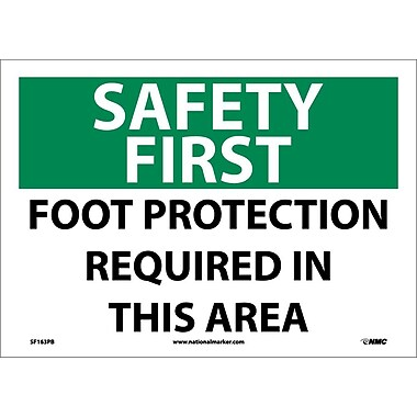 Safety First, Foot Protection Required In This Area, 10X14, Adhesive Vinyl
