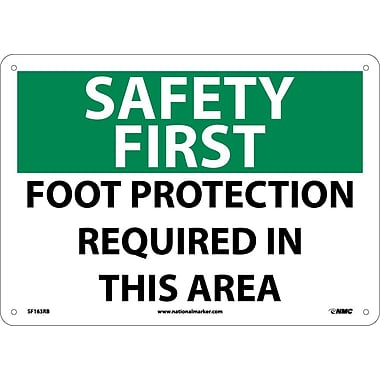Safety First, Foot Protection Required In This Area, 10X14, Rigid Plastic