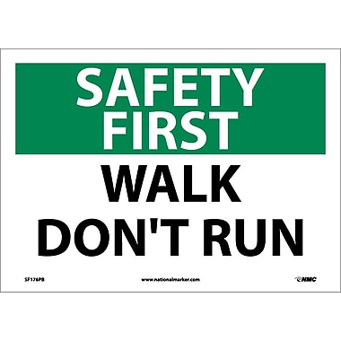 Safety First, Walk Don't Run, 10X14, Adhesive Vinyl