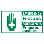 Emergency, First Aid (Bilingual W/Graphic), 10X18, Adhesive Vinyl