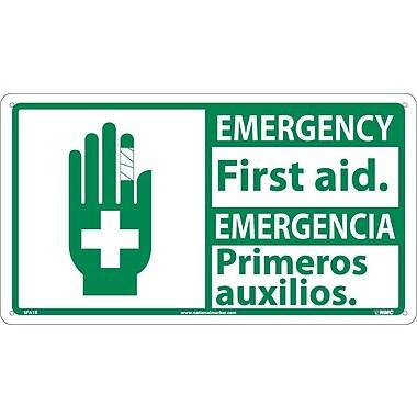 Safety First, Emergency First Aid / Emergencia (Bilingual W/Graphic), 10X18, Rigid Plastic