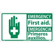 Safety First, Emergency First Aid / Emergencia (Bilingual W/Graphic), 10X18, Rigid Plastic