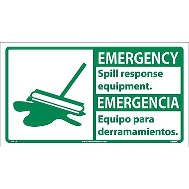 Emergency, Spill Response Equipment (Bilingual W/Graphic), 10X18, Adhesive Vinyl