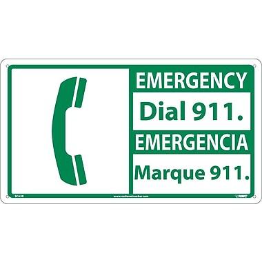Safety First, 10 X 18 Emergency Dial 911/Emergencia (Bilingual W/Graphic), 10X18, Rigid Plastic