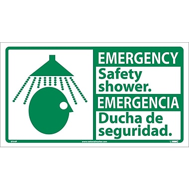 Emergency, Safety Shower (Bilingual W/Graphic), 10X18, Adhesive Vinyl