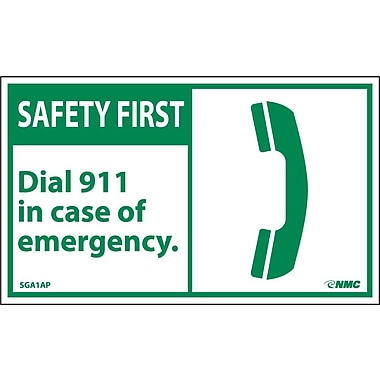 Safety First, Dial 911 In Case Of Emergency (Graphic), 3X5, Adhesive Vinyl, 5/Pk