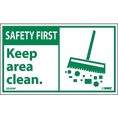 Safety First, Keep Area Clean (Graphic), 3X5, Adhesive Vinyl, 5/Pk