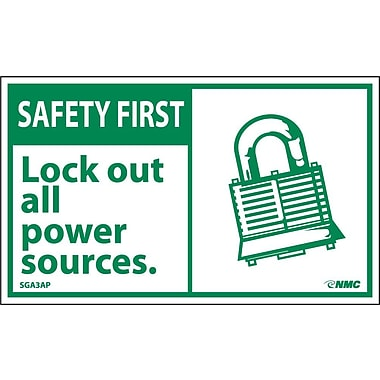 Safety First, Lockout All Power Sources (Graphic), 3X5, Adhesive Vinyl, 5/Pk