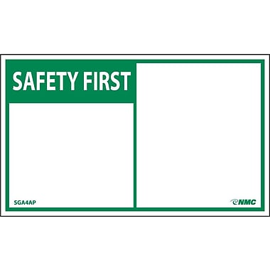 Safety First, Blank, 3X5, Adhesive Vinyl, 5/Pk