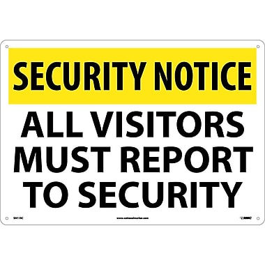 Security Notice, All Visitors Must Report To Security, 14X20, Rigid Plastic