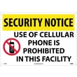 Security Notice, Use Of Cellular Phone Is Prohibited In This Facility, 14X20, Rigid Plastic
