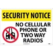 Security Notice, No Cellular Phone Or Two Way Radios, Graphic, 14X20, Rigid Plastic