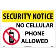 Security Notice, No Cellular Phones Allowed, Graphic, 14X20, .040 Aluminum