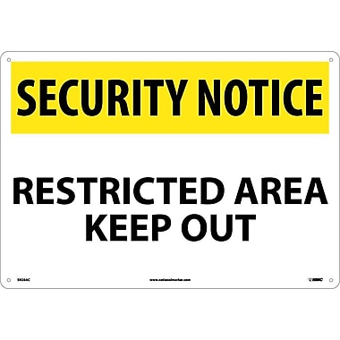 Security Notice, Restricted Area Keep Out, 14X20, .040 Aluminum