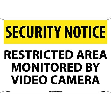 Security Notice, Restricted Area Monitored By Video Camera, 14X20, Rigid Plastic