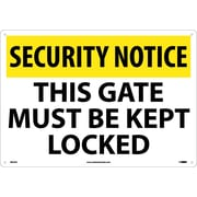 Security Notice, This Gate Must Be Kept Locked, 14X20, .040 Aluminum