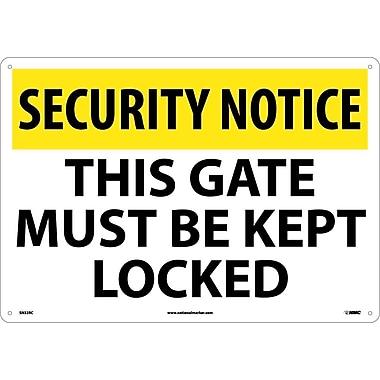 Security Notice, This Gate Must Be Kept Locked, 14X20, Rigid Plastic