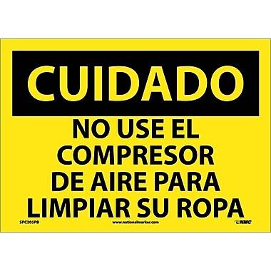 Cuidado, No Use El Compresor De Aire Para Limpiar Su Ropa, 10X14, Adhesive Vinyl