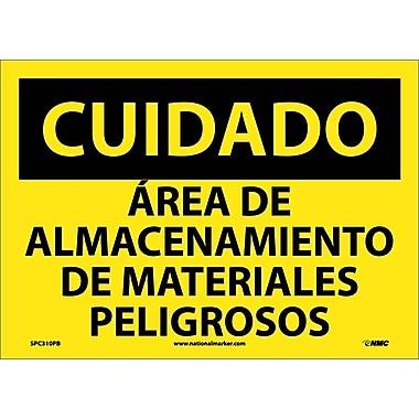 Cuidado, Area De Almacenamiento De Materiales Peligrosos, 10X14, Adhesive Vinyl