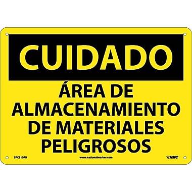 Cuidado, Area De Almacenamiento De Materiales Pelgrosos, 10X14, Rigid Plastic