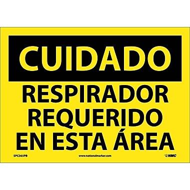 Cuidado, Respirador Requerido En Esta Area, 10X14, Adhesive Vinyl