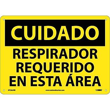 Cuidado, Respirador Requerido En Esta Area, 10X14, Rigid Plastic