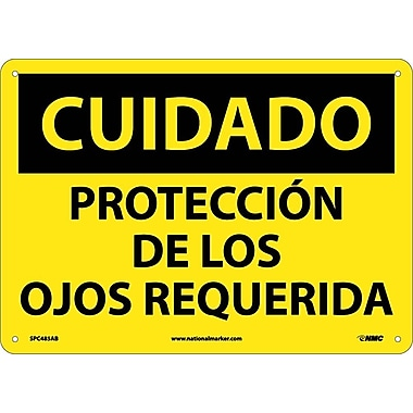 Cuidado, Proteccion De Los Ojos Requerida, 10X14, .040 Aluminum