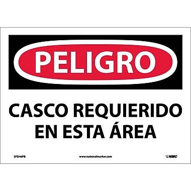 Peligro, Casco Requerido En Esta Area, 10X14, Adhesive Vinyl