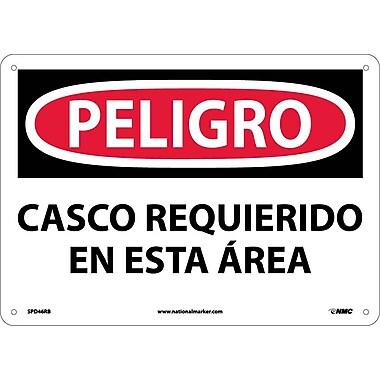 Peligro, Casco Requerido En Esta Area, 10X14, Rigid Plastic