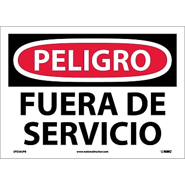 Peligro, Fuera De Servicio, 10X14, Adhesive Vinyl